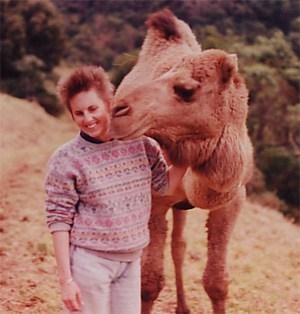 Billie Dean meeting a camel in 1989.