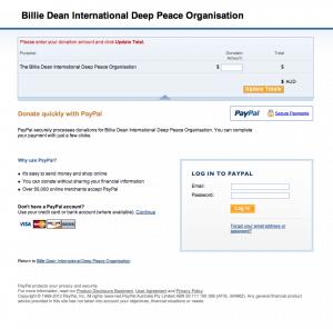 Paypal screen for the Billie Dean International Deep Peace Organisation